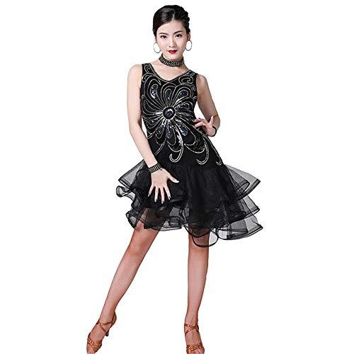 Tanz Für Verkauf Kostüm Wettbewerb - Kleid Damen Vintage Frauen Latin Dance Kleid Outfit ärmellos V-Ausschnitt Blume Pailletten Rüschen Schichten Mesh Tango Rumba Ballsaal Dancewear Performance Wettbewerb Tanz Kostüm für Party Prom