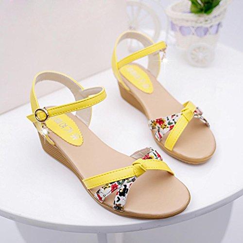 Sandales femme, Transer ® Fashion femmes Mesdames en cuir pour chaussures plates sandales tongs Jaune