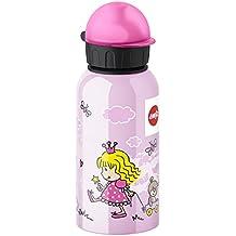 Emsa Princesa - Botella infantil, 0,4 l, sistema de cierre hermético, higiénico, seguro y práctico, 100% libre de BPA