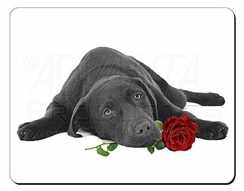 Labrador mit Rot Rose Computer Maus Matte Weihnachten Geschenk Idee (Valentines Geschenke Idee)