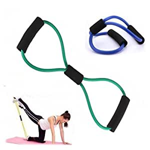E-GLOBAL SHOP Total Body Finess Stretch Body Toning and Stretching Travel Exercise tube 8 type resistance band exercise tube yoga pull up equipment Yoga Fitness For Men and Women - Multi-coloured