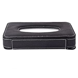 KMH Luxury PU Leather Tissue Box -50 Pulls (100 Sheets)-1 Ply -Black For Toyota Etios