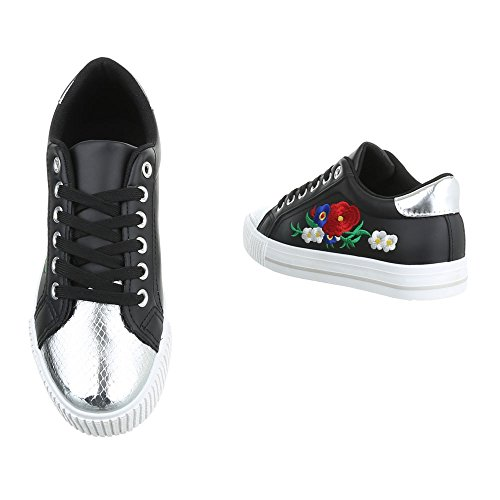 Damen Freizeitschuhe Schuhe Sportschuhe Turnschuhe Sneaker Laufschuhe Schwarz Weiß 36 37 38 39 40 41 Schwarz