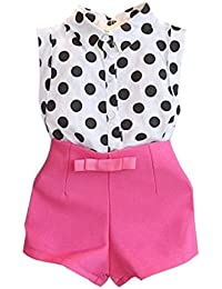 BOBOLover 1 Set Chica Niña Niño Polka Dot Camiseta Tops+Pink Bowknot Pantalones Cortos