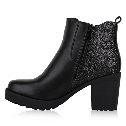 Damen Stiefeletten Chelsea Boots Profilsohle Blockabsatz Schuhe Schwarz Glitzer