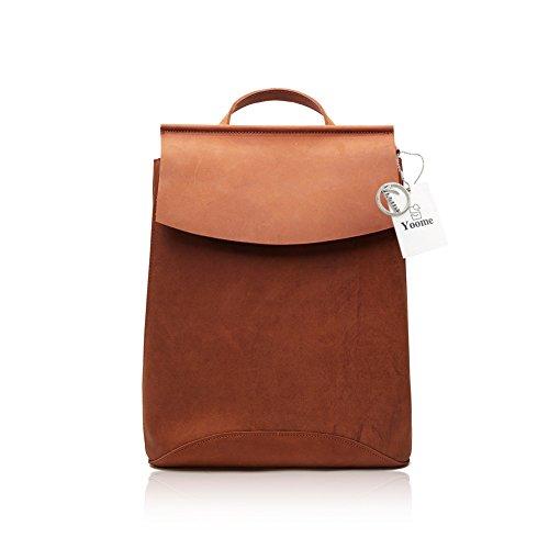 Yoome Fashion Crazy-Horse Leder Rucksack Handtasche Damen Casual Schulter Handtasche 8625-Brown-L Crazy Leder