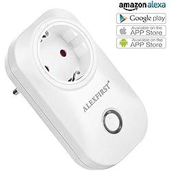 ALEXFIRST Wlan Steckdose Intelligente Smart Plug mit Fernsteuerung inkl Zeitsteuerung Energiesparfunktion Kompatibel mit Alexa [Echo, Echo Dot] mit App Steuerung überall und zu jeder Zeit