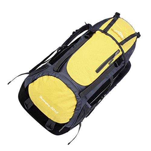 Generic Viaggiare Sport All'aria Aperta Alpinismo Trekking Escursionismo Impermeabile Zaino Borsa sacchetto - Blu scuro Giallo