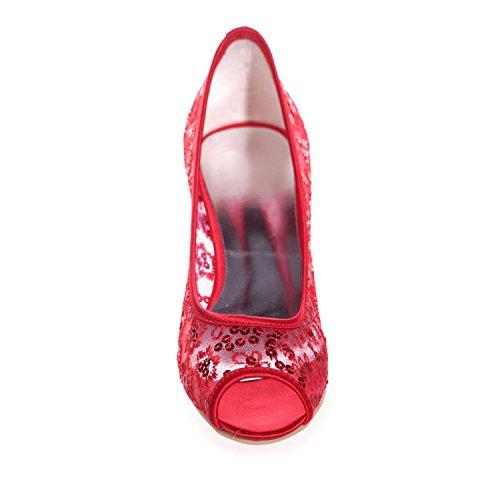 L@YC 0700-13 Tacco a Spillo Da Donna Con Tacco a Spillo Per Uomo, Scarpe Da Cerimonia Nuziale, Scarpe In Pizzo Red