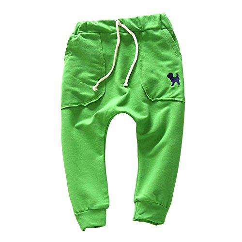 Jungen Jogginghose Grün (Brightup Baby Jungen Mädchen Junge Hosen Kinder Hosen Sport Jogging Hosen, Welpen Stickerei Harem Hosen)