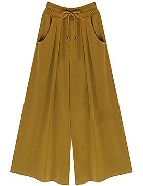 61e38e8063c5 Qitun Pantalone Largo Da Donna Pantaloni Da Yoga A Vita Alta Eleganti  Palazzo Con Coulisse A