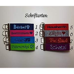 Schlüsselanhänger mit Namen oder Spruch - individuelle bestickt - Einhorn - Glücksbringer - Schlüsselband - Talisman- Geschenk