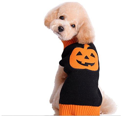 Gwood Neue Herbst/Winter-Tier-Kostüm Hund-Pullover Marine Bow-Haustier-Pullover Sweaters für VIP Bichon Pommerschen Chihuahua Dog (Halloween-Lächeln, M)