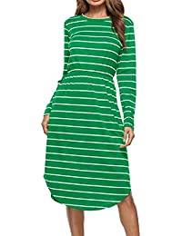 Igspfbjn Abito a Maniche Lunghe da Donna Abito Longuette Irregolare a Righe  (Color   Green a3b8c8ac3d1