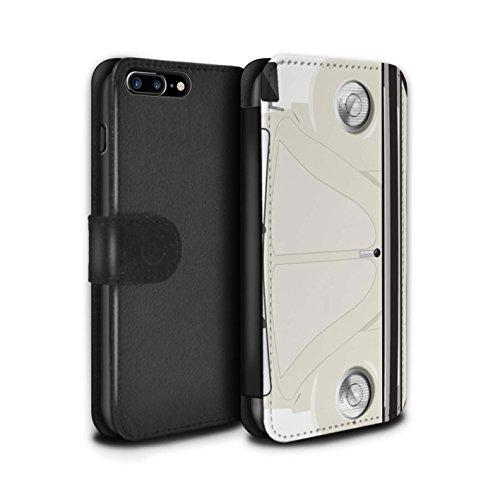 STUFF4 PU-Leder Hülle/Case/Tasche/Cover für Apple iPhone 8 Plus / Rennen Streifen Muster / Retro Beetle Kollektion Perlweiss