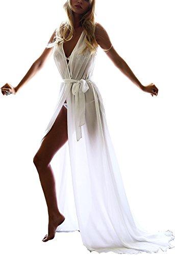 donne-di-allentato-v-neck-beach-cover-up-laterale-slittamento-bianco-maxi-vestito