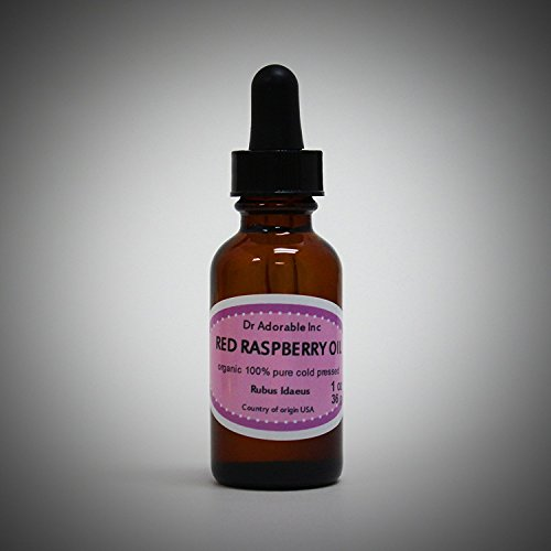 Red Raspberry Seed Oil Organic Cold Pressed 100% Pure 1.1 Oz Glass Bottle with glass dropper