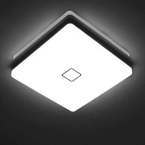 Öuesen 24W moderno impermeabile LED Lampada a soffitto piazza sottile plafoniera a filo Bianco freddo 5000K plafoniere a led per Soggiorno Sala da pranzo Camera da letto Bagno Cucina Balcone Corridoio