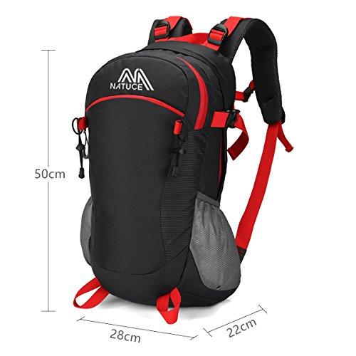NATUCE 40L Oxford Nylon Daypacks Fahrradrucksäcke Für Trekking Wandern Reisen Picknick Laptop Schule / 50 x 28 x 22 cm Schwarz