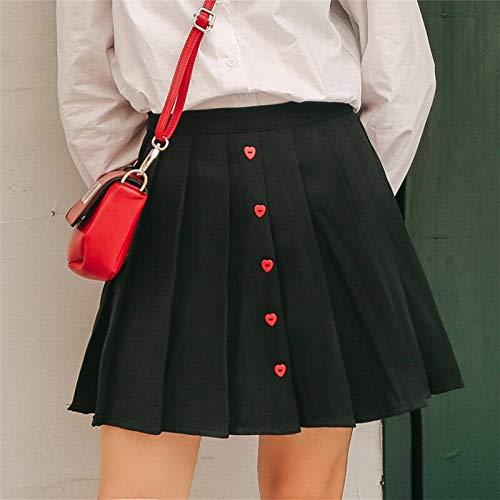 ni Sweet Red Heart Button Plus Size Faltenrock Frauen Rock Petticoat S Schwarz ()
