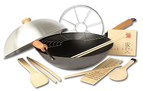 Flat-bottom Non-stick Fry Pan (Joyce Chen 22-0040 Pro Chef Wok mit flachem Boden und Excalibur Antihaftbeschichtung, 35,6 cm Anti-Haft, 10-teiliges SEt 14-Inch schwarz)