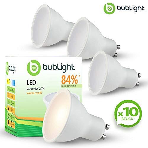10x Bublight LED-Leuchte GU10 6W, ersetzt 39W Glühlampe, Energieklasse A+, 2700 Kelvin warmweiß (E-A++) Spot Spotstrahler LED-Einbaustrahler Leuchtmittel