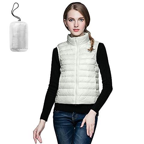 SEEU Ladied Gilet Body Warmer Women Down Vest Women Packable Lightweight Outwear Vest With Pockets White