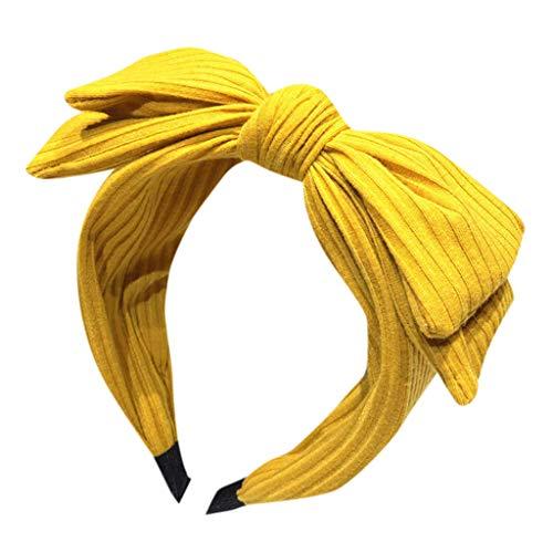 Alwayswin Damen Solid Bow Stirnband Creative Headwear Zubehör Stirnband Haarschmuck mit Schleifenstirnband Retro Einfach Haarband Kopfband Mädchen Mode Wild Headwear (Basketball Outfits Für Kleinkind)
