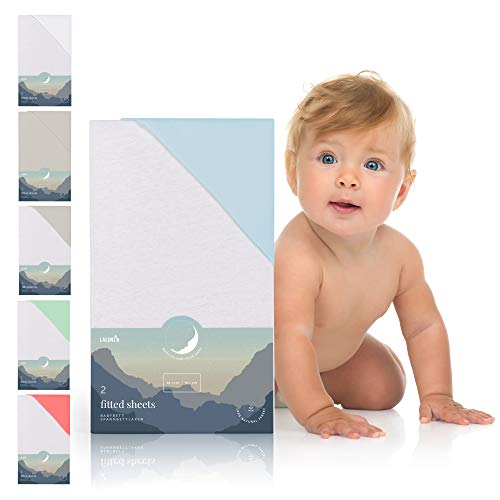 Laleni 2er Set Spannbettlaken für Babybett Kinderbett - 60x120 bis 70x140 cm, atmungsaktiv, 100{1f0d4e4280da754600461a11415be8008afc000080cc8a9454744161d950695b} Baumwolle