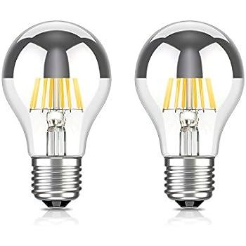 Led spiegelkopf lampe e27 warmweiss 2700 kelvin 620 lumen 6w silber gl hbirne verspiegelt - Kopfspiegellampe led e27 ...