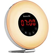 Alarm clock, Hotweild Sunrise & Sunset Simulator USB LED Digital Clock Wake up Light [Luxury Edition] with FM Radio Touch Control 7 Colors and 6 Nature Sounds Night Light Table Lamp,