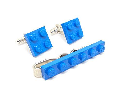 Bleu authentique Lego plaque Pince à cravate et boutons de manchette - Funky rétro Cool Boutons de manchette fabriqué par Jeff Jeffers