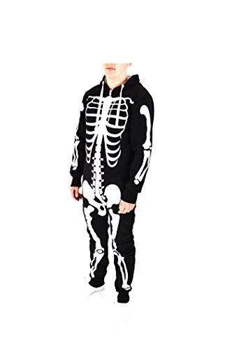 Männer Frauen Erwachsener Tier Halloween-Kostüm Unisex All In One Piece-Kostüm (Extra Groß, Schwarz)