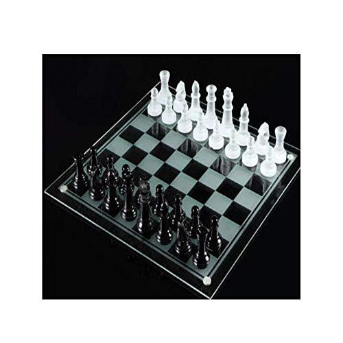 XSWZAQ Kristalle 32 Stück große traditionelle Schach-Glas-Board-Set schönes Spiel besonderes Geschenk und Party-Spaß von