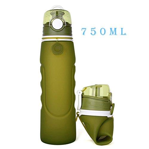 Faltbare Wasserflasche, Sport-Trinkflasche, Faltbar, von Polar,BPA Frei, Leakproof Silikon Faltbare Sportflasche für Sport, Outdoor, Reisen, Camping, Picknick(750ml,26oz),Grün