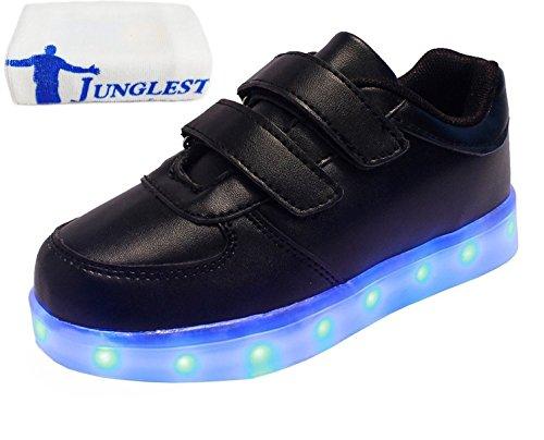 (present: Pequena Toalha) Junglest® Meninos Meninas Sapatos De Couro Da Sapatilha Cor Brilhante Sneakers Mudança De Fluorescência Esporte Schu Preto