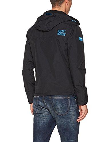 Superdry Herren Jacke Tech Hood Pop Zip Windcheater Mehrfarbig (Black/denby Blue)