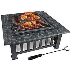 FOBUY pour Jardin Terrasses BBQ Brasero Ménager Barbecue pour Fête et Foyer en Acier Noir Poêle Chauffant Brasero Foyer Four Carré