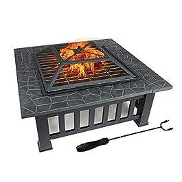 FOBUY – Braciere con ripiano per barbecue, braciere in metallo per esterni, tavolo quadrato e braciere da giardino…