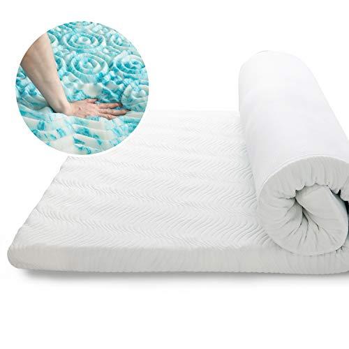 Bedsure Surmatelas Memoire de Forme 140x190 cm, Surmatelas Ergonomique de 7cm à 7 Zones Respirant et Moelleux avec Housse Amovible et Lavable