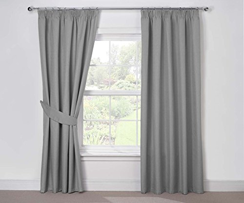 Julian Charles Luna Thermal Coated Pencil Pleat Curtains, Silver, 90 x 72-Inch