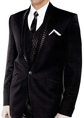 Inmonarch da uomo alla moda 5PC Bollywood nero smoking tuta TX111 Nero