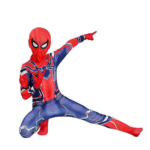 WEGCJU Eisen Spiderman Kostüm Cosplay Siamese Strumpfhosen Kind Erwachsene Thema Party Halloween Kleidung,Red-140CM