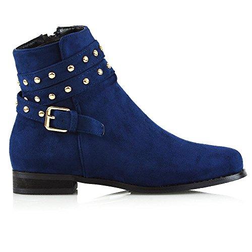 Essex Glam Chaussures Femme Bottes Biker Stibaletti Boucles Amphibious Clouté Bleu Clair Faux Daim