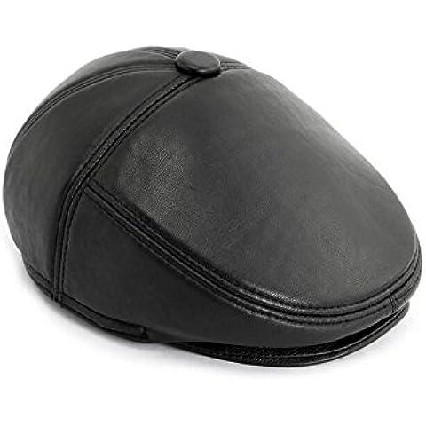 WE&ZHE Men's Peaked cap baseball cap Hunting Hats Newsboy Cap Flat Cap High quality Faux leather Vintage Style warm Protect ear Quinquagenarian winter L / XL / XXL BLACK , black 2xl