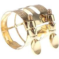 Sharplace Abrazadera de Boquilla de Saxofón Complimentos Musical Instrumento Cómodo - Oro