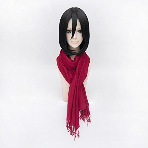 LanTing Cosplay Perücke Attack on Titan Mikasa·Ackerman Black Perücke Corta Styled Frauen Cosplay Party Fashion Anime Human Costume Full wigs Synthetic Haar Heat Resistant Fiber