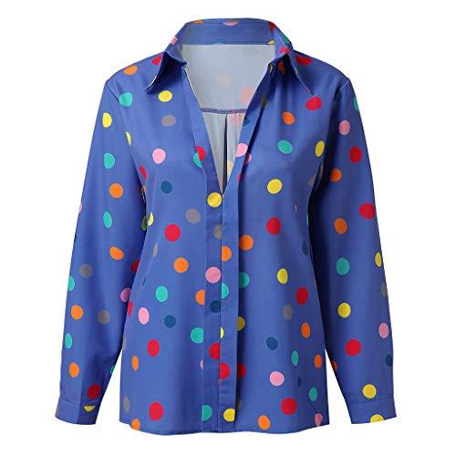 Vectry Damen Damenmode Bluse Beiläufige Langarmhemden Lose Bunte Punktmuster Tops Tiefem V-Ausschnitt Sommer Tunika Party Täglich Pullover Blau S