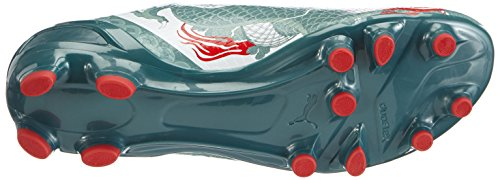 Puma Evospeed 2.3 Graphic Fg, Chaussures de Football homme Blanc - Weiß (white-sea pine-high risk red 01)