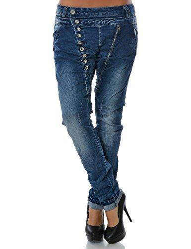 Damen Boyfriend Jeans Hose Reißverschluss Knopfleiste (weitere Farben) No 14145, Farbe:Blau;Größe:40 / L